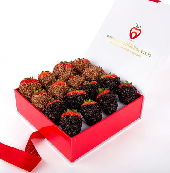 Chocolate Berry Box with Dark Flakes and Vermicelli